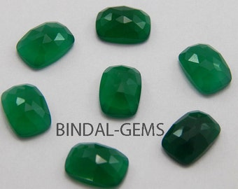 15 Pieces Rarest Wholesale Lot Green Onyx Octagon Cushion Rose Cut Loose Gemstone For Jewelry