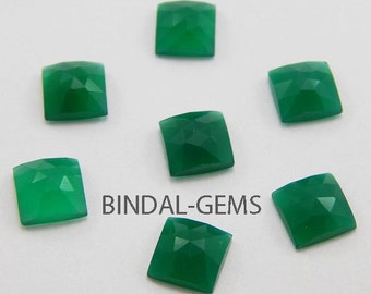 10 Pieces Wholesale Lot Beautiful Green Onyx Square Shapre Rose Cut Gemstone For Jewelry
