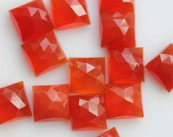 10 Pieces Lot Carnelian Square Shape Rose Cut Loose Gemstone