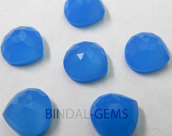 10 Pieces Lot Blue Chalcedony Heart Shape Rose Cut Loose Gemstone