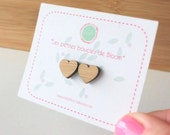 Heart studs earrings. Heart-shaped using laser cutting. Petite Fantaisie Collection.