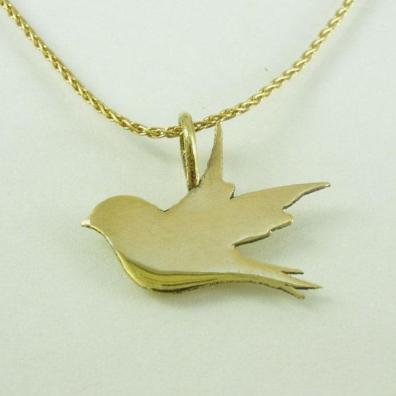 14k solid gold necklacebird pendantbird inscriptionbird of like this item mozeypictures Gallery