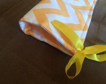 "10"" x 51"" Crib Teething bumper light orange  white  chevron with yellow ties"