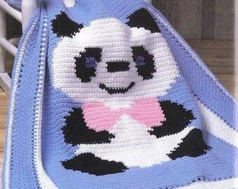 Vintage Crochet Pattern PDF  Panda Afghan  Baby Pram Cover Cot Blanket