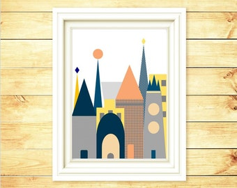 Castle Art Print.  Nursery Wall Decor. Girl Castl Art Print. Castle Illustration. Castle Monder Art- 8x10