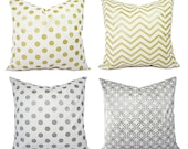 Metallic Gold Pillow Covers - Silver and White Pillow Covers - Decorative Pillows - Chevron Pillows - Metallic Gold Pillows - Holiday Decor