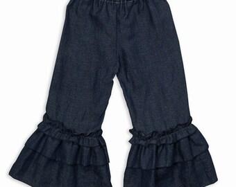 Girl Dark Denim Double Ruffle Pants  6M to 10Y