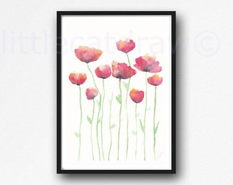 Red Poppy Print Wall Art Poppy Flower Watercolor Painting Art Print Home Decor Floral Minimalist Red Wall Decor Poppies Print