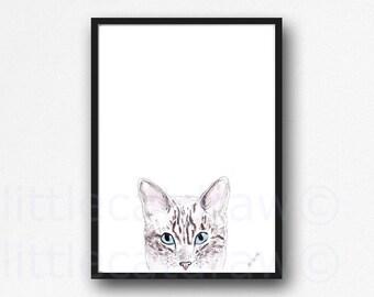 Peeking Tabby Cat Watercolor Painting Art Print Cat Print Wall Art Unframed Print