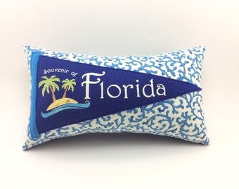 Florida Vintage Inspired Pennant Pillow 11 inches accent pillow, beach house decor, florida vacation, cottage style decor