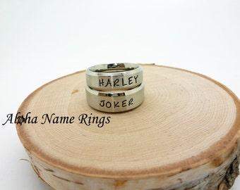 JOKER & HARLEY Couples Rings - Hand Stamped Stainless Steel Rings <> ANR-R-M0018