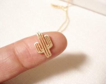 Gold cactus necklace...dainty minimalist, everyday simple jewelry, birthday, sorority, wedding, bridesmaid gift