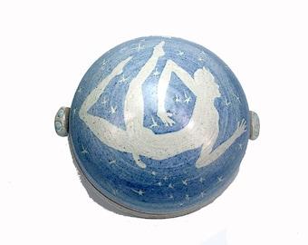 Horned God Seeding Stars Covered Jar Stoneware Pottery Butter Dish Pagan Altar Jar