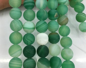 8mm natural green striped agate beads, round agate matte beads, green gemstone beads for jewelry making 15'' strand