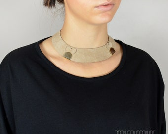 Leather choker collar necklace.