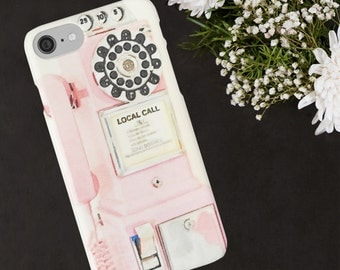 Pink Retro Vintage Payphone, Pink Rotary Telephone Phone Case,  Retro Phone Case, Iphone 5 6 7 and Plus, Samsung Galaxy Cases, Girly Girl