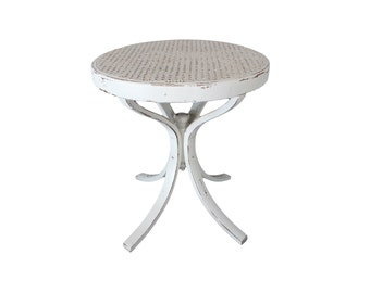 Vintage White Cane Top Bentwood Side Accent Table