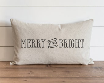 Merry and Bight16 x 26 Pillow Cover // Christmas  // Holiday  // Throw Pillow // Gift for Her // Accent Pillow