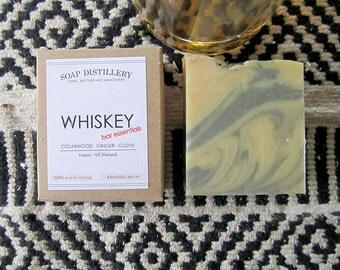 Whiskey Cold Process Soap Small Batch Cedarwood Ginger Clove All Natural Bar Essentials