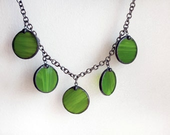 Spring Statement Green Necklace, Stained Glass Jewelry, Big Drop Modern Simple Necklace
