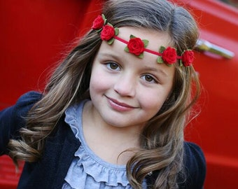 Red felt flower garland headband  - flower garland headband - flower crown - newborn through adult