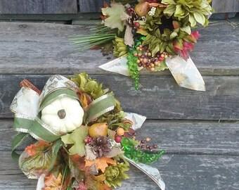 Cornucopia, Autumn Decor, Thanksgiving Decor, AS SEASONS CHANGE Silk Floral & Wicker Cornucopia Thanksgiving Table Centerpiece