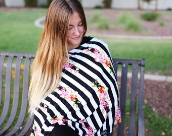 Lily Stripes Nursing Cover/ Doubles as a Carseat Cover/ Nursing Poncho