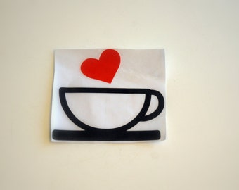 Coffee with Heart Decal