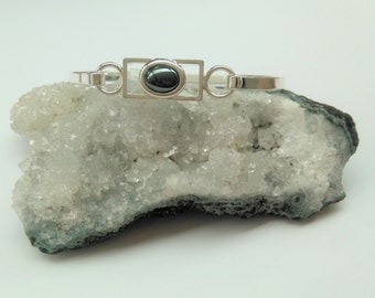 Hematite  Gemstone Bangle Bracelet - Silver Plated