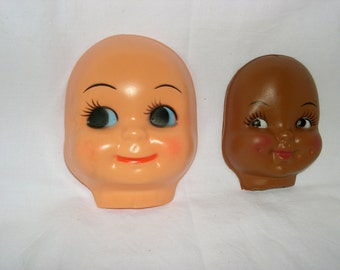 Doll Faces, Plastic Doll Faces, Vintage 1970 Doll Faces, Painted features