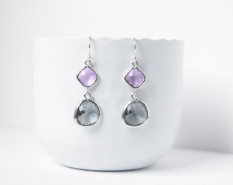 Earrings Lavender Charcoal and silver and rhodium plated,Earrings greyglass,Marriage wedding,Charcoal Grey earrings,Lavender