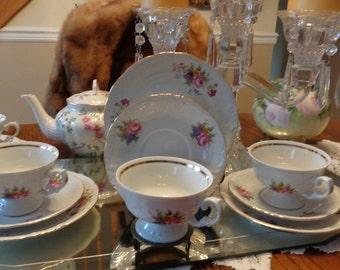 Vintage  Trio Teacup Saucer Cake Plate  Set   / Tea Parry China/ Bridal Shower Teacup / Tea Party China