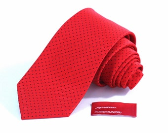 Tie (3 inch wide) in Black Pin Dots on Bright Red Twill