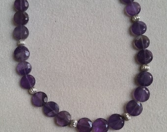 Amethyst (purple) Disks Beaded Necklace