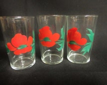 Vintage Red Floral Hand Painted Juice Glasses Set of 3 Breakfast Glasses Retro Kitchen Mid Century Decor