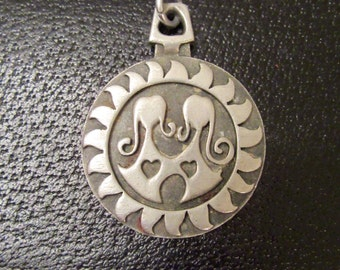 Rune Tennesmed Big Pewter Pendant Gemini Medallion Necklace 925 BR Zodiac