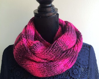 Sparkle Infinity Scarf -Pink Ombre Scarf - Hand Knit Scarf - Women Scarf - Deep Pink Scarf -Warm Scarf -Knitted Scarf - Mother's Day Gift