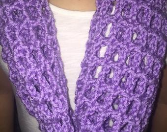 Crochet Purple Metallic Mesh Infinity Scarf