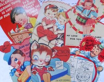 Vintage Valentine's Day Cards Set of Six