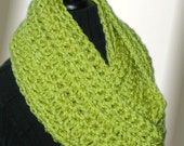 SALE Infinity Scarf Cowl Chunky Crochet Vegan Bulky Yarn Infiniti Chartreuse Light Lime Green Hand Made in USA