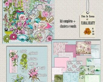 Digital kit FLORAL BEAUTY,  spring, garden, flowers, enchantement