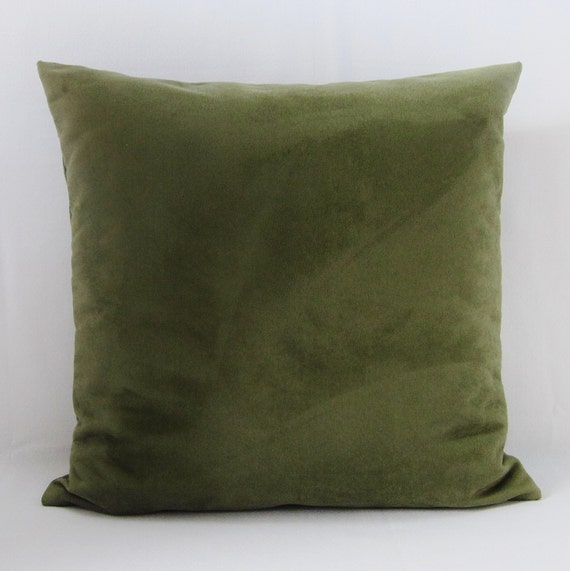Throw Pillows For Sage Green Couch : Olive Green Sage Suede Pillow Cover Decorative Throw Accent