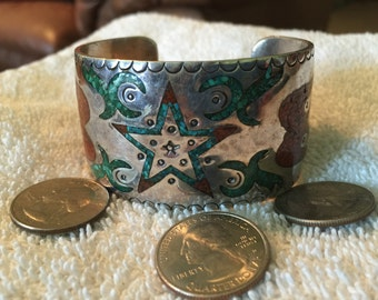Vintage Navajo SS inlaid Turquoise Coral Cuff Bracelet - 85 grams