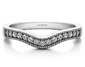 Vintage Contour Band with Milgrained Edges - Sterling Silver with Cubic Zirconia (.25ct)