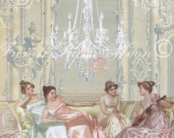 Digital Regency Fashion Printable, Vintage Fashion Download, Regency Period Instant Download, French Pillow Image