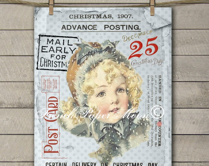 Shabby Victorian Girl Christmas Mail Digital Print, Mail Early for Christmas Postcard, Instant Download Transfer Image