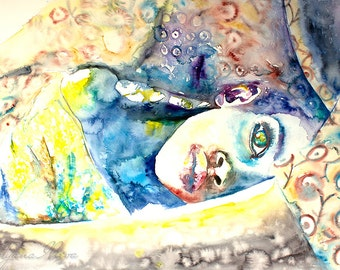 Watercolor Print. Art print. Portrait of child in mother's arms. Hold me.