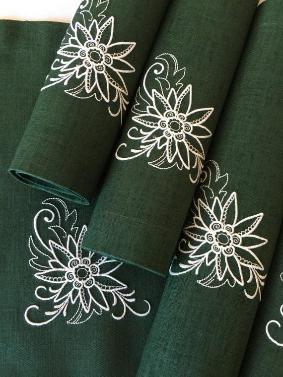 Juego de manteles individuales de lino de 6 verde bordado de - Manteles de lino ...