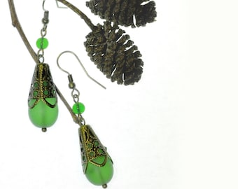 Green Sea Glass Earrings Brass Filigree and Glass Beads Statement Earrings Unique Gift