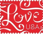 10 Unused Love Forever Postage Stamps // Red and White Love Ribbon // Postage Stamps for Mailing